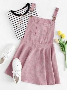 Pocket Front Zip Up Back Corduroy Pinafore DressFor Women-romwe
