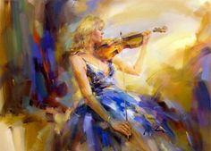 Retrato de mujer tocando violin pintada en lienzo con óleo Impresionismo en retratos de mujeres Artísticas pinturas de mujeres con vestid...