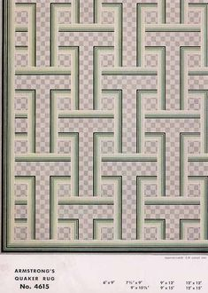Armstrong Quaker Linoleum Rug design 1954 - perfect DIY idea for a floorcloth in the dining area?!