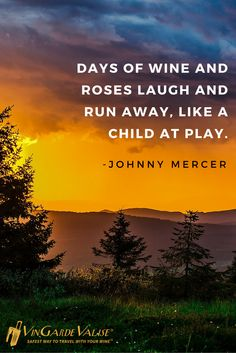 """""""Days of wine and roses laugh and run away, like a child at play."""" - Johnny Mercer"""