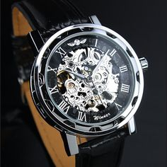 "Mens Watch Steampunk Men""s gear watch, Silver with black synthetic leather band. Very elegant. on Etsy, $26.00"