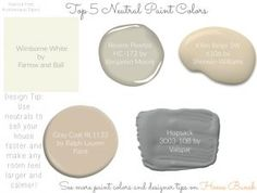 Top Neutral Paint Colors: Top Neutral Paint Colors: Wimborne White by Farrow and Ball, Revere Pewter by Benjamin Moore, Kilim Beige SW 6106 by Sherwin-Williams, Gray Coat by Ralph Lauren Paint, Hopsack by Valspar. Via Home Bunch Beige Paint, Neutral Paint Colors, Calming Colors, Paint Color Palettes, Colour Pallette, Interior Paint Colors For Living Room, Ralph Lauren Paint, Favorite Paint Colors, Painting Cabinets