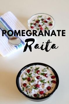 Pomegranate raita recipe – mix of sweet and savory flavors in this raita. Made with fresh pomegranate arils, cucumber, yogurt and spiced with black pepper and roasted cumin powder. Serve this raita with spicy biryani or pulao North Indian Recipes, Indian Food Recipes, Healthy Recipes, Veg Dinner Recipes, Indian Side Dishes, Cucumber Yogurt, Punjabi Food, Chaat Masala, Recipe Mix