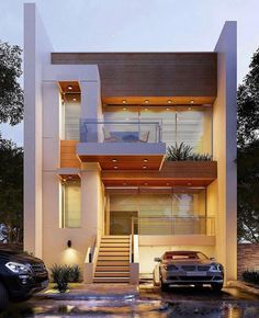 House exterior design modern architects for 2019 Bungalow House Design, House Front Design, Small House Design, Layouts Casa, House Layouts, Design Exterior, Facade Design, 3d Design, House Architecture Styles
