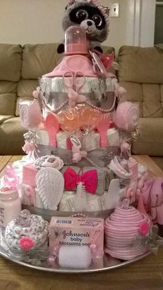 3 Tier Raccoon Baby Girl Shower Diaper Cake Centerpiece or Gift just without the raccoon