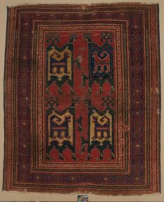 Confronted Animal Rug Object Name: Carpet Date: 14th century Geography: Turkey Culture: Islamic Medium: Wool (warp, weft, and pile); symmetrically knotted pile