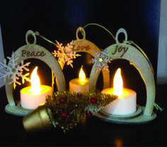 Wooden Christmas tealights trio by Lotique. Find us on fb.