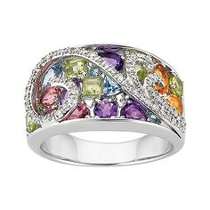 Multi-Gemstone and Diamond Bypass Fashion Ring #mom #gifts #mothersday $249.00  #GiftsThatDelight #FredMeyerJewelers