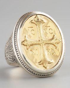 Konstantino Round Cross Ring, Large