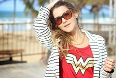 Street style summer navy stripes. Wonder woman t-shirt