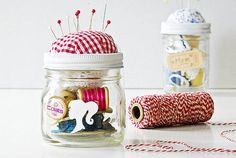 The mason jar sewing kit is such a cute and practical gift.   Basically, you create a pin cushion, stick it to the top of the lid, and keep all your sewing tools inside the jar.  Source: OnSugar user funkytime