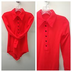 Vintage 70s bodysuit red big collar button up by MainCourseVintage
