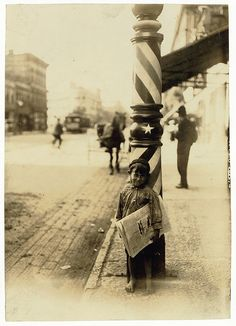 Lewis Hine: Indianapolis newsboy, 41 inches high, 1908 by trialsanderrors, via Flickr