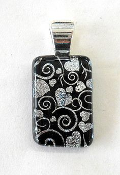 New Hand Created Fused Glass Silver Dichroic Heart Pendant by glassconfusion, $35.99