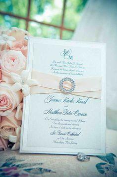 Rhinestone Buckle & Ribbon Wedding invitation - Cream and Pale pink - Custom Monogram - by The Satin Bow - www.satinbow.net