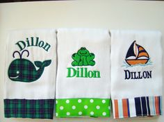 Baby Boy Monogrammed Burp Cloth Set with a Whale by flauntthename, $27.00