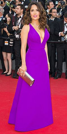 The Best and Boldest Looks from the Cannes Red Carpet! | SALMA HAYEK | in a plunging purple dress at the Carol premiere.