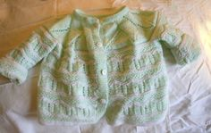 Baby Sweater lime green and white 36 months by BaubleandBain, $25.00