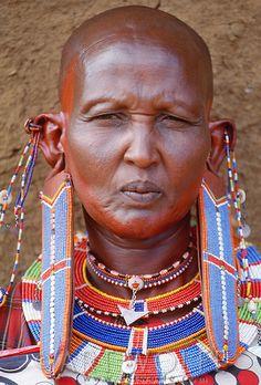 Portrait of Maasai tribeswoman, Kenya
