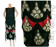 1920er Jahren Flapper Kleid. 20 s schwere Perlen Muster in