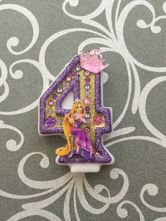 "Handcrafted ""Rapunzel"" or ANY Themed Birthday Candles- Decorated To Your Liking"