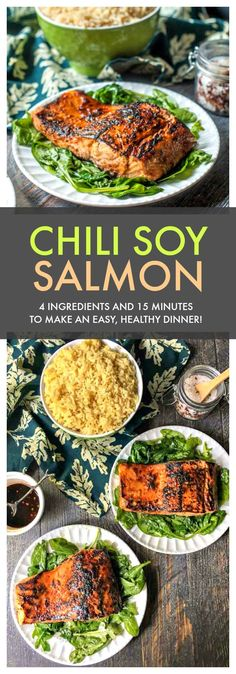 Chili Soy Salmon - 4 ingredients, 15 minutes for this low carb dinner the whole family will love! #lowcarbdiet #easyrecipe