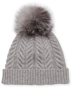 4e560c3dbef Sofia Cashmere Staghorn Cable Knit Hat w  Fur Pompom