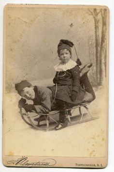 BOY-and-GIRL-ON-A-SLED-CABINET-CARD-PHOTO-TOMPKINSVILLE-SI-STATEN-ISLAND-NY