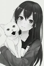 Manga girl and cat Anime Chibi, Manga Anime, Anime Art, Manga Girl, Kawaii Anime Girl, Anime Girls, Kawaii Cat, Style Anime, Wie Zeichnet Man Manga