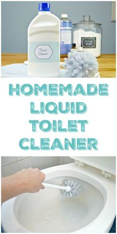 Homemade Liquid Toilet Cleaner that disinfects and freshens without harsh chemicals. Made with baking soda, Castile soap and essential oils. via @Mom4Real