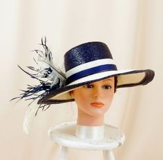 a21db2132ba RESERVED Nautical Navy Blue Hat   Blue and White Hat   Kentucky Derby Hat   Floppy  Hat   Wide Brim Hat   Church Hat   Straw Hat   Formal Hat