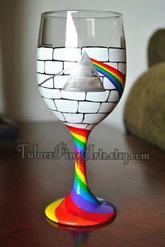 Dark Side of the Wall Wine Glasses by TulaczFineArts on Etsy, $38.00 Pink Floyd, dark side of the moon, Pink Floyd wine glass, Pink Floyd gift, music, 1970s, roger waters, David Gilmore
