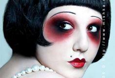 Doll Face Art and Make Up | Face Art, Portraits & Mug Shots Makeup Vintage, 1920s Makeup, Goth Makeup, Makeup Inspo, Makeup Art, Makeup Inspiration, Beauty Makeup, Eye Makeup, Flapper Makeup