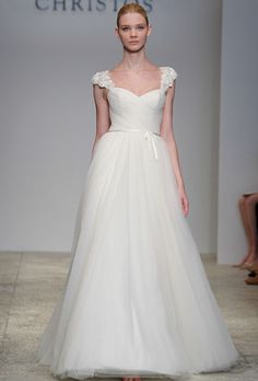 beautifully simple #wedding dress with cap sleeves, sweetheart neckline and pretty flowy skirt