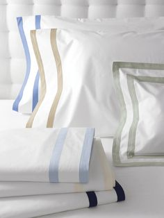 Matouk Marlowe Fitted Sheet Matouk Luxury Italian Bed, Bath and Table Linens Dinosaur Toddler Bedding, Textiles, Linen Rentals, Luxury Bedding Sets, Fine Linens, Queen Duvet, White Fabrics, Bedding Collections, Bed Sheets