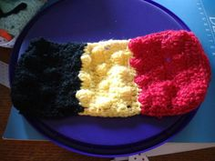 Belgian flag mug cosy for my father-in-law