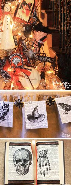 DIY Vintage Halloween Banner! Use the Halloween printables to decorate a Halloween Tree, books, decor etc.  There are also reversable printables to iron-on fabric! Design Dazzle #Halloween #Halloweenprintables #Halloweenbanner