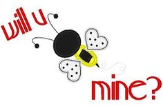 Will U Bee Mine Applique - 3 Sizes! | Valentine's Day | Machine Embroidery Designs | SWAKembroidery.com Band to Bow