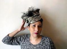 Free Form Black Sinamay And Sequin Headpiece  BY AMANDA G. JOYNER    #millinery #hats #HatAcademy