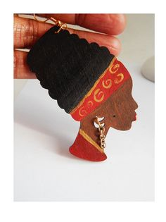New to TheBlackerTheBerry on Etsy: Natural Hair Earrings Afro Jewelry Hand Painted Wooden Earrings Red Gold Afrocentric Earrings Ethnic African American Cute Statement Wood