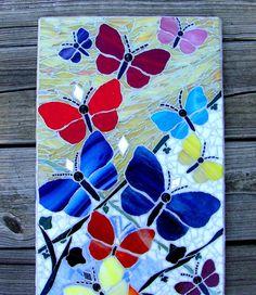 Butterfly Garden Original Mosaic Art Wall Hanging Mosaic Panel