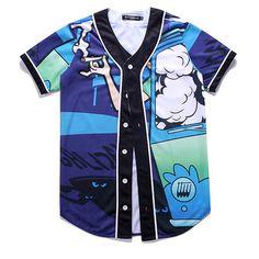 Hombre Deportivo Moda Impresión manga corta de béisbol V-cuello Personalidad Camisas Casual