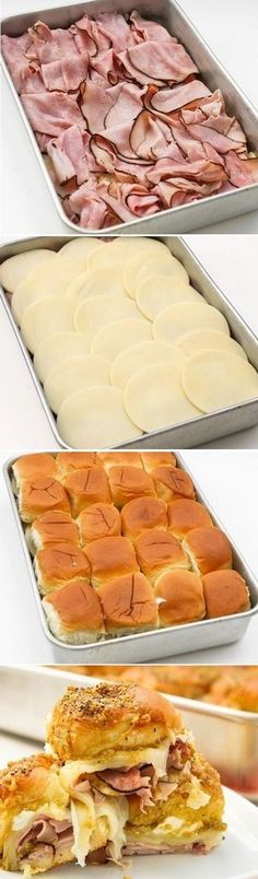 Hawaiian Roll Ham Sandwiches These are so easy and so good for a party. Hawaiian Roll Ham Sandwiches, Good Food, Yummy Food, Delicious Meals, Healthy Food, Night Food, Cooking For A Crowd, Football Food, Game Day Food