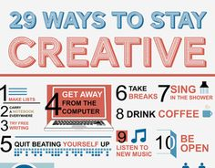"Check out this @Behance project: ""29 Ways to Stay Creative Infographic"" https://www.behance.net/gallery/4504625/29-Ways-to-Stay-Creative-Infographic"