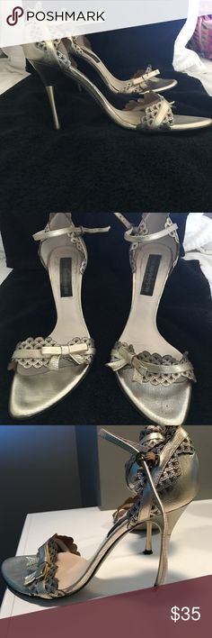 Steve Madden Heels Steve Madden Luxe dressy heel....pewter color, feminine detail, comfortable and only gently worn. Steve Madden Shoes Heels