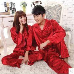 Silk Pajamas Women Red Ladies Get Married Pyjamas Lovers Mens Silk Satin Pajamas Women's Sleep Lounge Pajama Sets Plus Size 3XL
