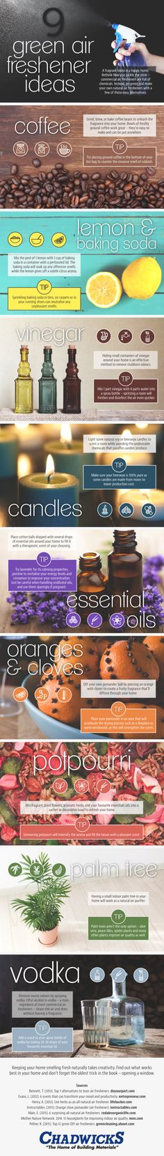 Air Fresheners: 9 DIY Natural Alternatives to Commercial Deodorizer  [by Chadwicks -- via #tipsographic]. More at tipsographic.com