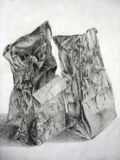 Drawing Paper Bags Drawing Art Lesson Plan Students work from paper bag still life arrangements to draw accurate texture with graphite pencils on white . Value Drawing, Drawing Bag, Paper Drawing, Drawing Projects, Drawing Lessons, Art Lessons, Middle School Art, Art School, High School