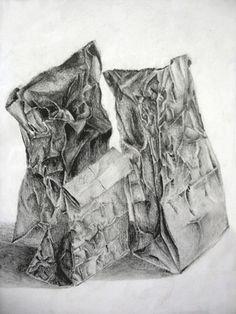 brown paper bags, art lessons, value art lesson plan, drawingpaperbagsartlessonplan, drawings of bags