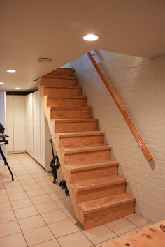 beam ledge at staircase to basement - Google Search